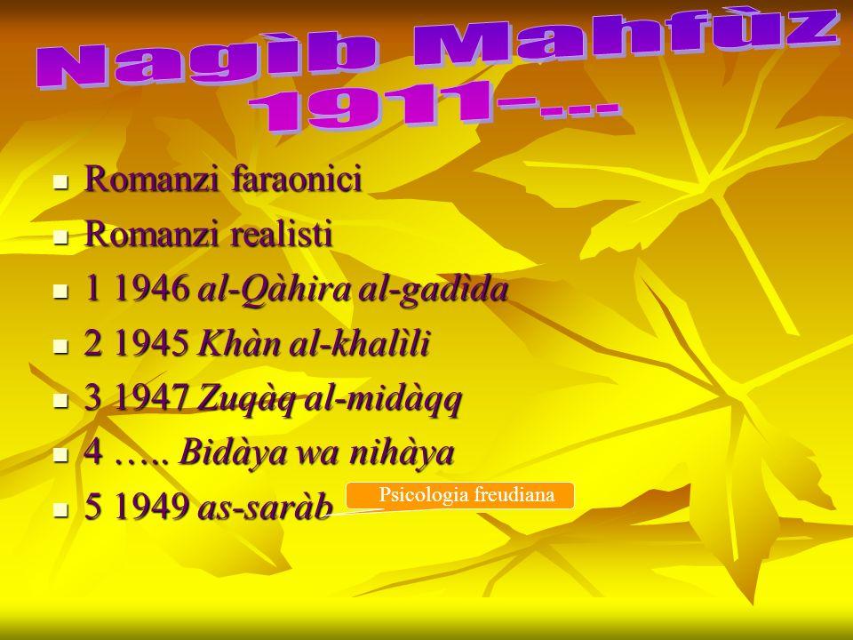 Romanzi faraonici Romanzi faraonici Romanzi realisti Romanzi realisti 1 1946 al-Qàhira al-gadìda 1 1946 al-Qàhira al-gadìda 2 1945 Khàn al-khalìli 2 1