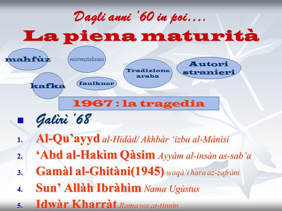 Dagli anni 60 in poi…. La piena maturità Galìrì 68 Galìrì 68 1. Al-Quayyd al-Hidàd/ Akhbàr izba al-Mànìsi 2. Abd al-Hakìm Qàsim Ayyàm al-insàn as-saba