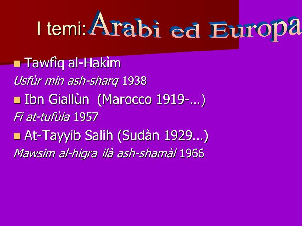 I temi: Tawfìq al-Hakìm Tawfìq al-Hakìm Usfùr min ash-sharq 1938 Ibn Giallùn (Marocco 1919-…) Ibn Giallùn (Marocco 1919-…) Fi at-tufùla 1957 At-Tayyib