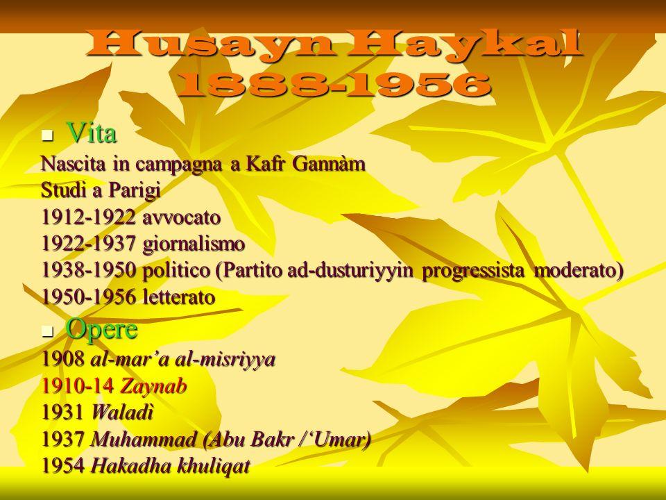 Husayn Haykal 1888-1956 Vita Vita Nascita in campagna a Kafr Gannàm Studi a Parigi 1912-1922 avvocato 1922-1937 giornalismo 1938-1950 politico (Partit