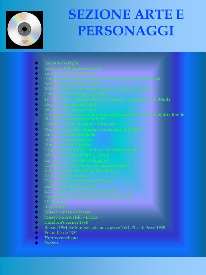 La notte dei foghi La nscita dell impressionismo I grandi dell arte moderna Aspettando Goldoni, utopie per il trecentenario Goldoniano Leonardo: ritratto di un genio Michelangelo la mano sulla metria, lo spirito sull infinito Come nasce una legge regionale 41° Aadunata sezionale alpini di Vicenza – Carmignano di Brenta Dentro la maschera DVD 1 Dentro la maschera DVD 2 Il recupero, la conservazione e la valorizzazione del patrimonio culturale di origine veneta presente in Ist...