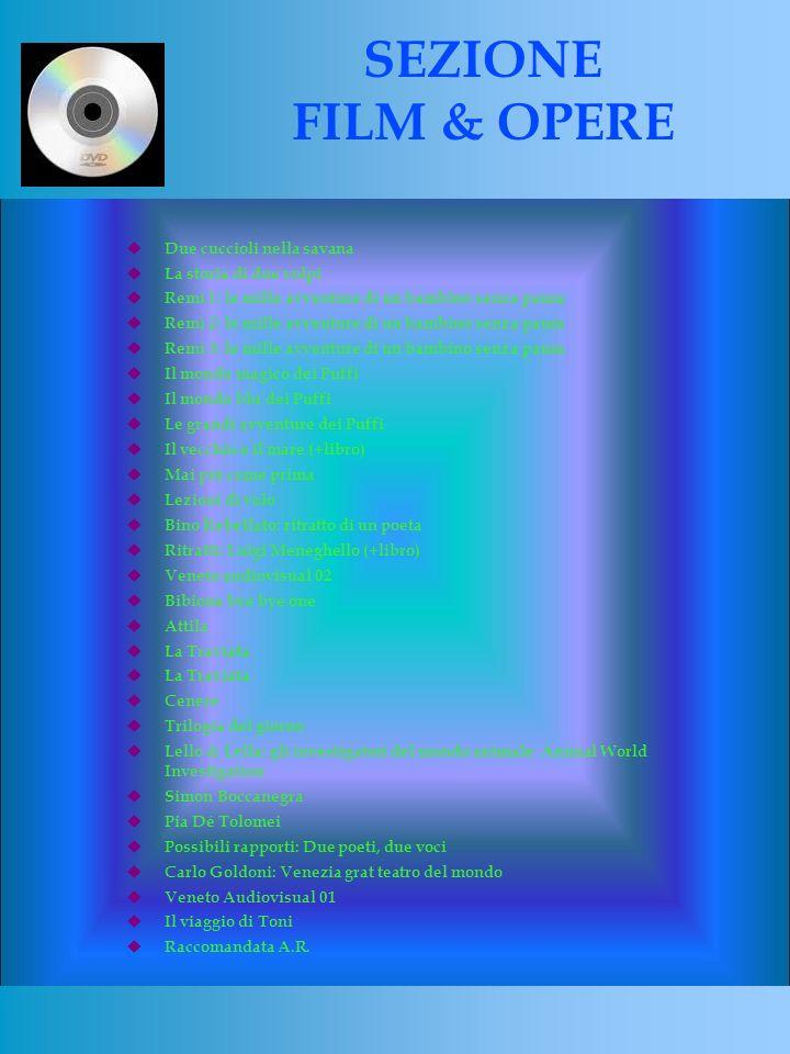 Due cuccioli nella savana La storia di due volpi Remì 1: le mille avventure di un bambino senza paura Remì 2: le mille avventure di un bambino senza paura Remì 3: le mille avventure di un bambino senza paura Il mondo magico dei Puffi Il mondo blu dei Puffi Le grandi avventure dei Puffi Il vecchio e il mare (+libro) Mai più come prima Lezioni di volo Bino Rebellato: ritratto di un poeta Ritratti: Luigi Meneghello (+libro) Veneto audiovisual 02 Bibione bye bye one Attila La Traviata Cenere Trilogia del giorno Lello & Lella: gli investigatori del mondo animale Animal World Investigation Simon Boccanegra Pia Dé Tolomei Possibili rapporti: Due poeti, due voci Carlo Goldoni: Venezia grat teatro del mondo Veneto Audiovisual 01 Il viaggio di Toni Raccomandata A.R.