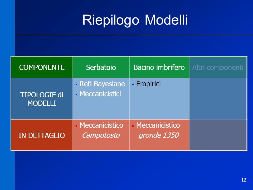 12 Riepilogo Modelli COMPONENTESerbatoioBacino imbriferoAltri componenti TIPOLOGIE di MODELLI Reti Bayesiane Meccanicistici Empirici IN DETTAGLIO Mecc