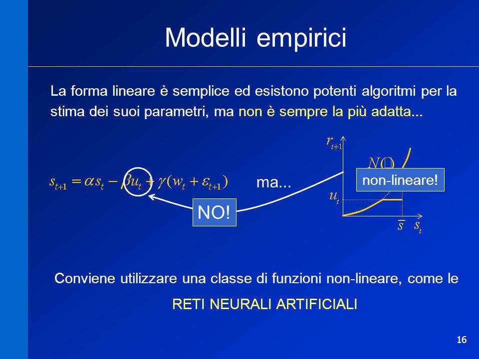 16 Modelli empirici La forma lineare è semplice ed esistono potenti algoritmi per la stima dei suoi parametri, ma non è sempre la più adatta... ma...