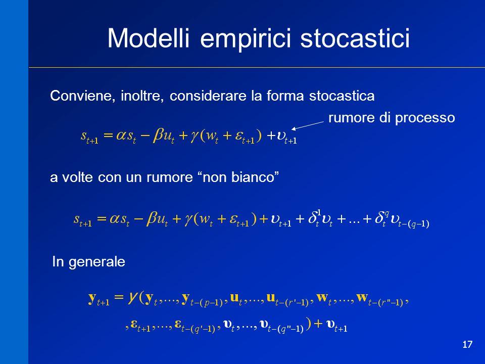 17 Modelli empirici stocastici Conviene, inoltre, considerare la forma stocastica a volte con un rumore non bianco In generale rumore di processo