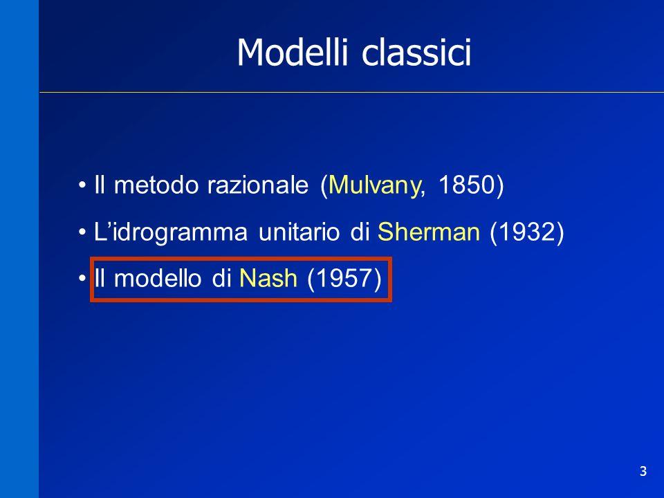 3 Modelli classici Il metodo razionale (Mulvany, 1850) Lidrogramma unitario di Sherman (1932) Il modello di Nash (1957)