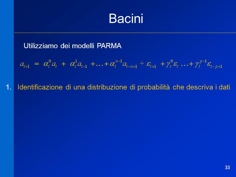 33 Bacini Utilizziamo dei modelli PARMA 1.Identificazione di una distribuzione di probabilità che descriva i dati