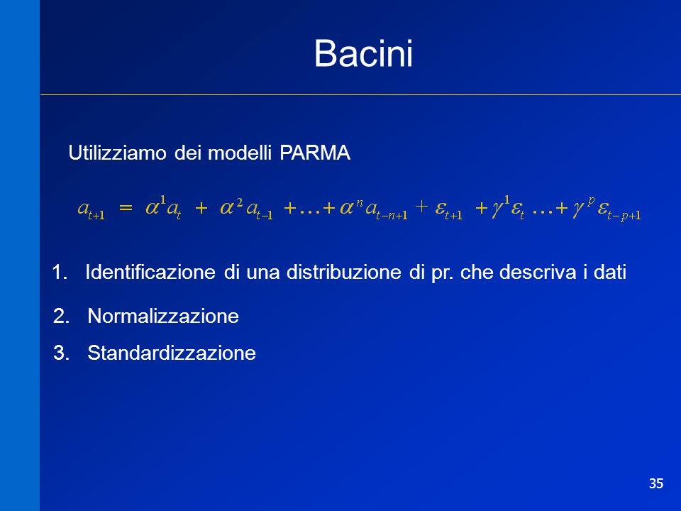 35 Bacini Utilizziamo dei modelli PARMA 1.Identificazione di una distribuzione di pr. che descriva i dati 2.Normalizzazione 3.Standardizzazione