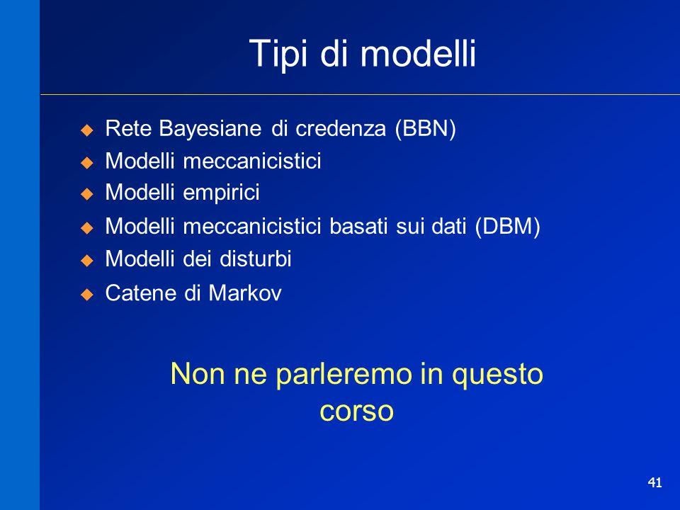 41 Tipi di modelli Rete Bayesiane di credenza (BBN) Modelli meccanicistici Modelli empirici Modelli meccanicistici basati sui dati (DBM) Modelli dei d