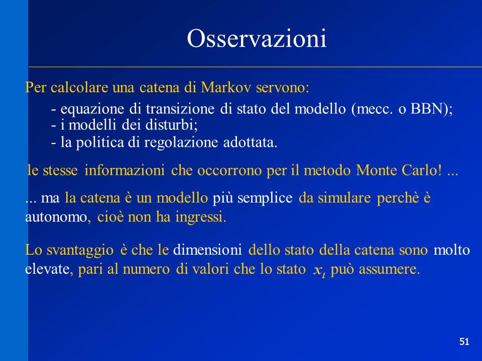 51 Osservazioni Per calcolare una catena di Markov servono: le stesse informazioni che occorrono per il metodo Monte Carlo!...... ma la catena è un mo