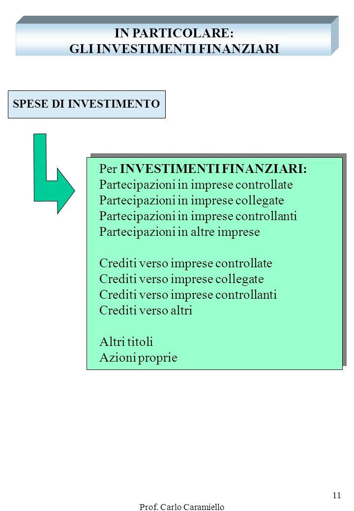 Prof. Carlo Caramiello 10 IN PARTICOLARE: LE SPESE DI INVESTIMENTO SPESE DI INVESTIMENTO I - Per IMMOBILIZZAZIONI IMMATERIALI Costi di impianto e di a