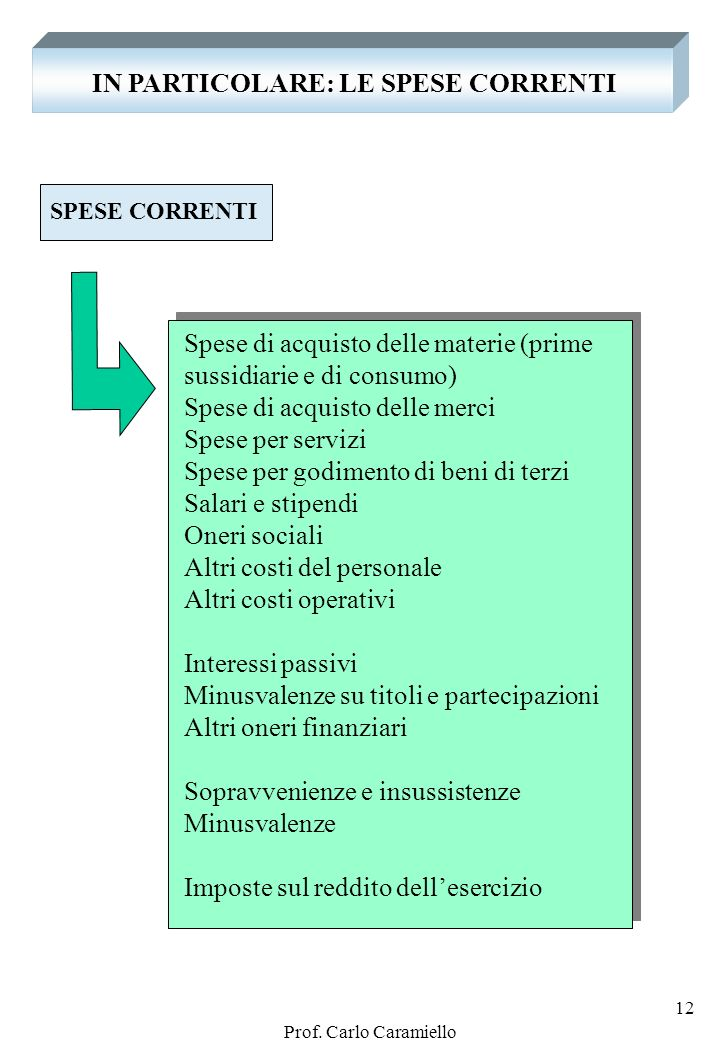 Prof. Carlo Caramiello 11 IN PARTICOLARE: GLI INVESTIMENTI FINANZIARI Per INVESTIMENTI FINANZIARI: Partecipazioni in imprese controllate Partecipazion