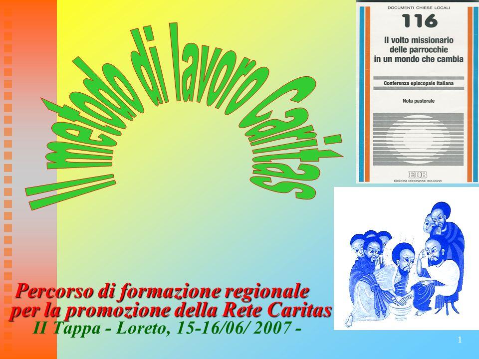 1 Percorso di formazione regionale Percorso di formazione regionale per la promozione della Rete Caritas per la promozione della Rete Caritas II Tappa