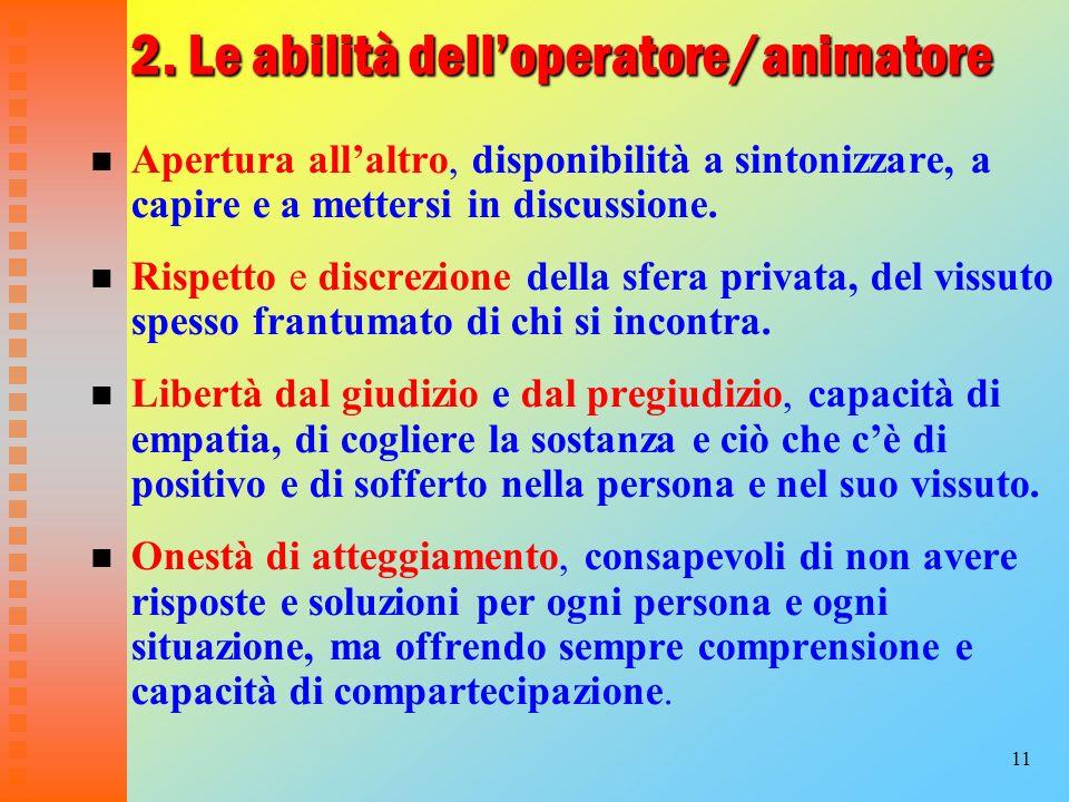 11 2. Le abilità delloperatore/animatore Apertura allaltro, disponibilità a sintonizzare, a capire e a mettersi in discussione. Rispetto e discrezione