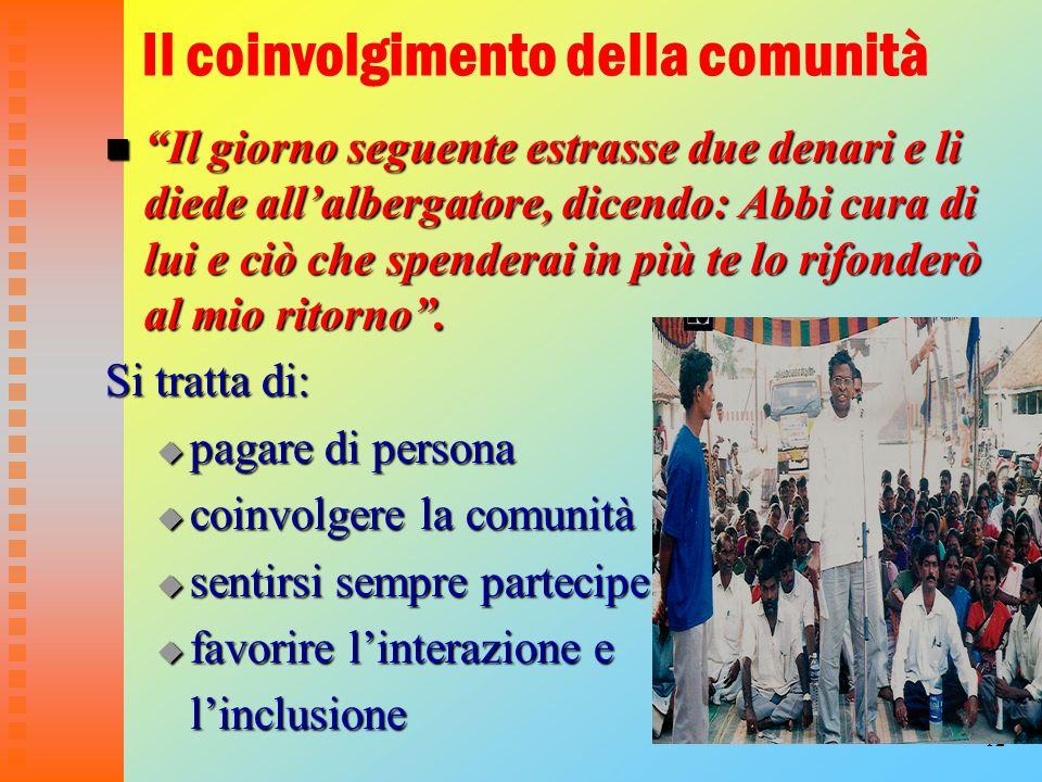 12 Il coinvolgimento della comunità Il giorno seguente estrasse due denari e li diede allalbergatore, dicendo: Abbi cura di lui e ciò che spenderai in