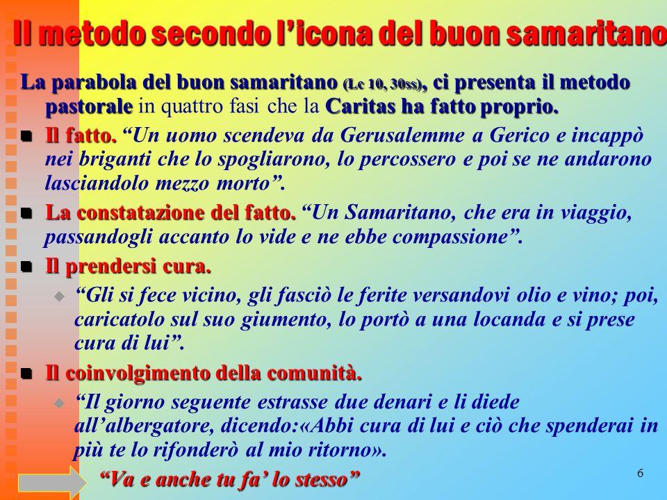 6 Il metodo secondo licona del buon samaritano La parabola del buon samaritano (Lc 10, 30ss), ci presenta il metodo pastorale Caritas ha fatto proprio