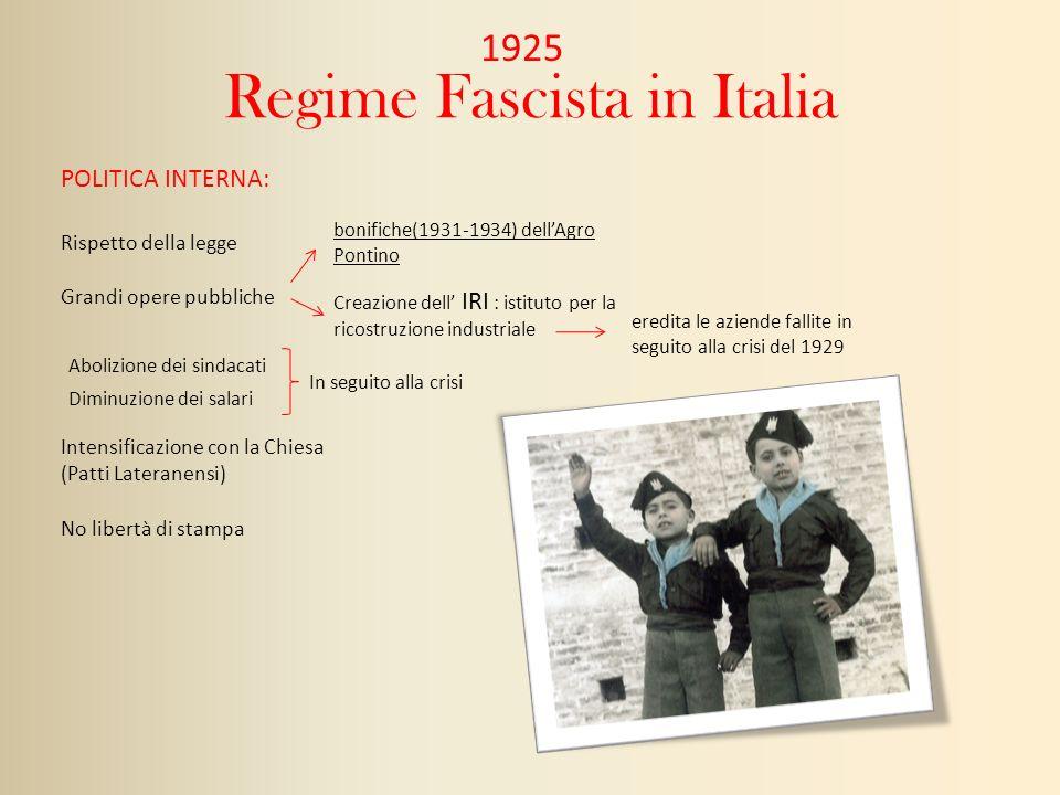 Regime Fascista in Italia 1925 Rispetto della legge Grandi opere pubbliche bonifiche(1931-1934) dellAgro Pontino Creazione dell IRI : istituto per la
