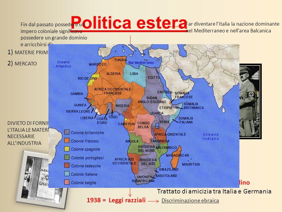 Politica estera IMPERO COLONIALE Far diventare lItalia la nazione dominante nel Mediterraneo e nellarea Balcanica 1936 Mussolini conquistò lEtiopia (a