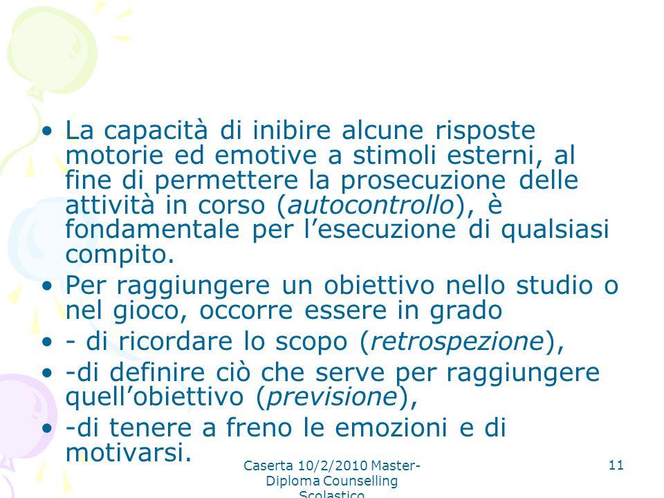 Caserta 10/2/2010 Master- Diploma Counselling Scolastico 11 La capacità di inibire alcune risposte motorie ed emotive a stimoli esterni, al fine di pe