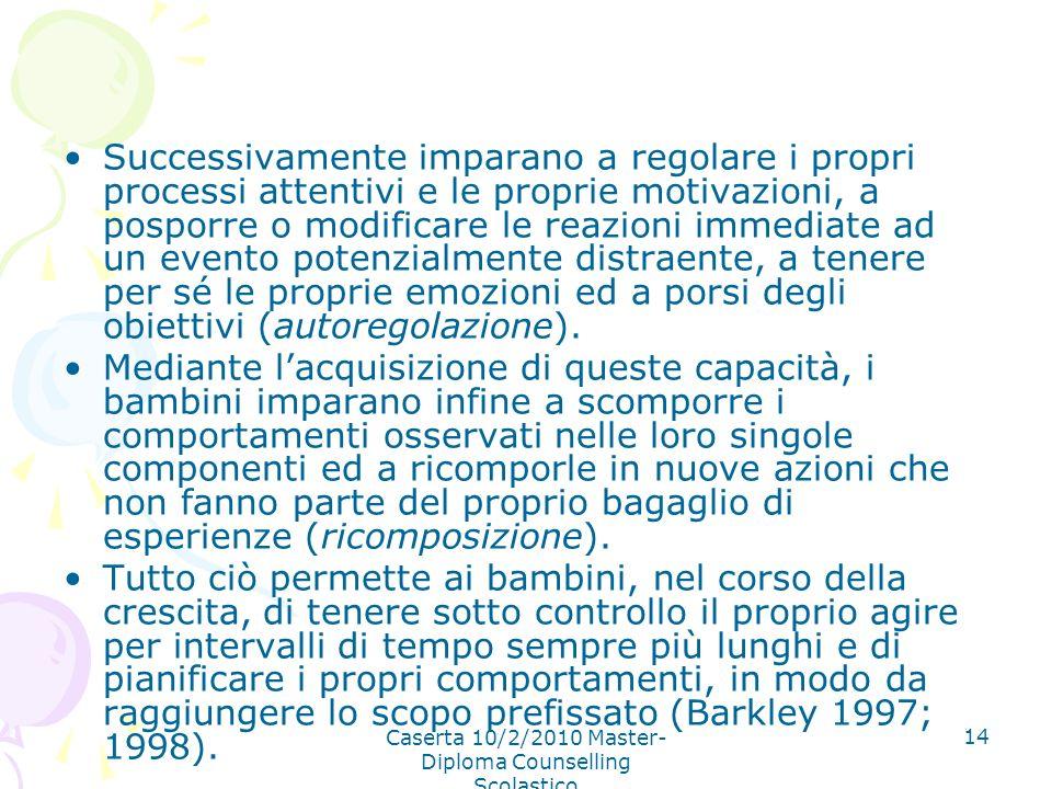 Caserta 10/2/2010 Master- Diploma Counselling Scolastico 14 Successivamente imparano a regolare i propri processi attentivi e le proprie motivazioni,
