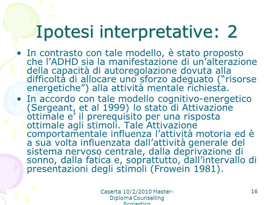 Caserta 10/2/2010 Master- Diploma Counselling Scolastico 16 Ipotesi interpretative: 2 In contrasto con tale modello, è stato proposto che lADHD sia la
