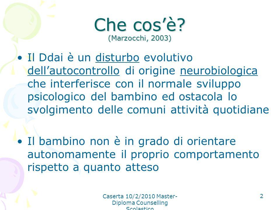 Caserta 10/2/2010 Master- Diploma Counselling Scolastico 2 Che cosè? (Marzocchi, 2003) Il Ddai è un disturbo evolutivo dellautocontrollo di origine ne