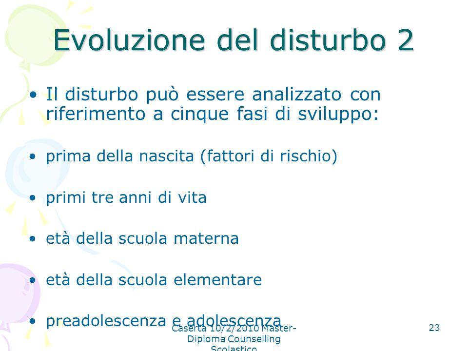 Caserta 10/2/2010 Master- Diploma Counselling Scolastico 23 Evoluzione del disturbo 2 Il disturbo può essere analizzato con riferimento a cinque fasi