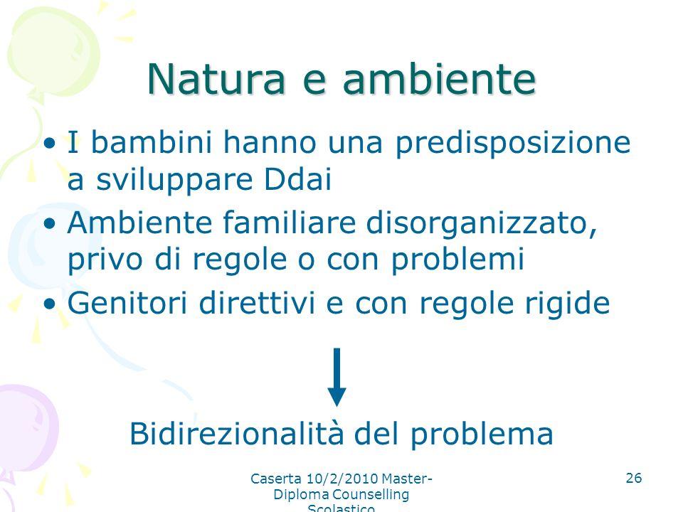 Caserta 10/2/2010 Master- Diploma Counselling Scolastico 26 Natura e ambiente I bambini hanno una predisposizione a sviluppare Ddai Ambiente familiare