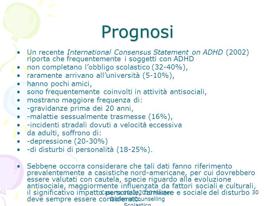 Caserta 10/2/2010 Master- Diploma Counselling Scolastico 30 Prognosi Un recente International Consensus Statement on ADHD (2002) riporta che frequente