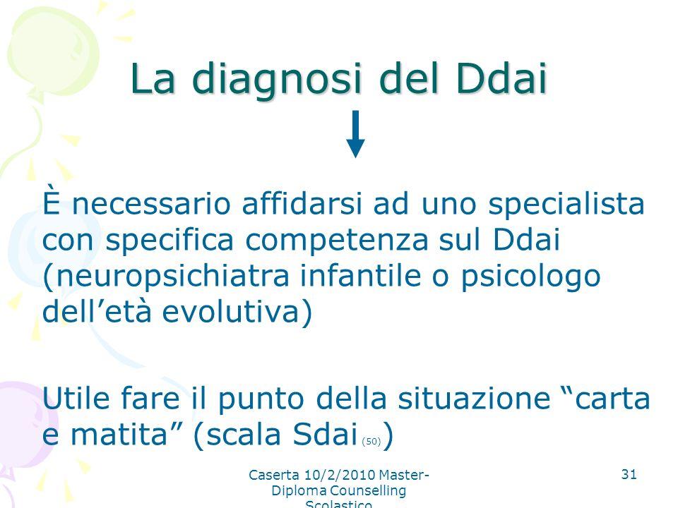 Caserta 10/2/2010 Master- Diploma Counselling Scolastico 31 La diagnosi del Ddai È necessario affidarsi ad uno specialista con specifica competenza su