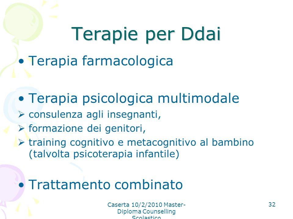 Caserta 10/2/2010 Master- Diploma Counselling Scolastico 32 Terapie per Ddai Terapia farmacologica Terapia psicologica multimodale consulenza agli ins