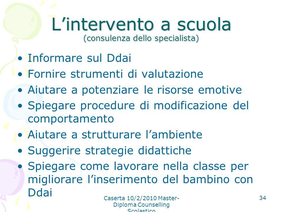 Caserta 10/2/2010 Master- Diploma Counselling Scolastico 34 Lintervento a scuola (consulenza dello specialista) Informare sul Ddai Fornire strumenti d
