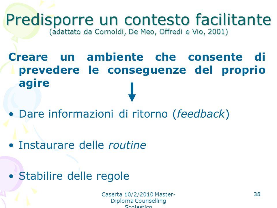 Caserta 10/2/2010 Master- Diploma Counselling Scolastico 38 Predisporre un contesto facilitante (adattato da Cornoldi, De Meo, Offredi e Vio, 2001) Cr