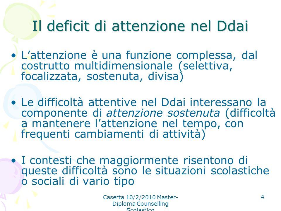 Caserta 10/2/2010 Master- Diploma Counselling Scolastico 4 Il deficit di attenzione nel Ddai Lattenzione è una funzione complessa, dal costrutto multi
