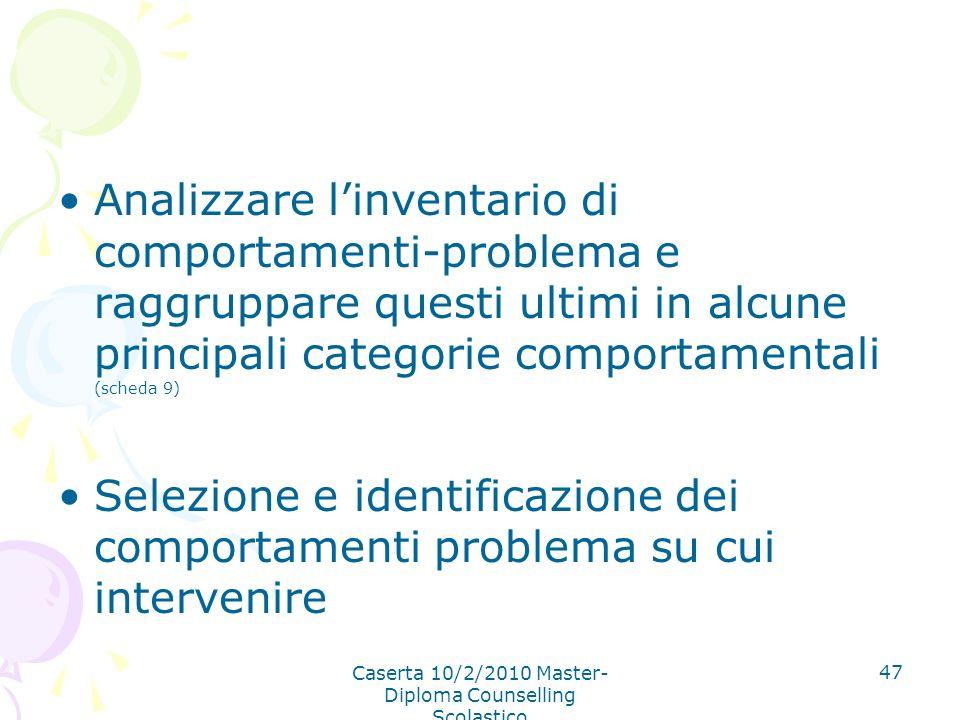 Caserta 10/2/2010 Master- Diploma Counselling Scolastico 47 Analizzare linventario di comportamenti-problema e raggruppare questi ultimi in alcune pri