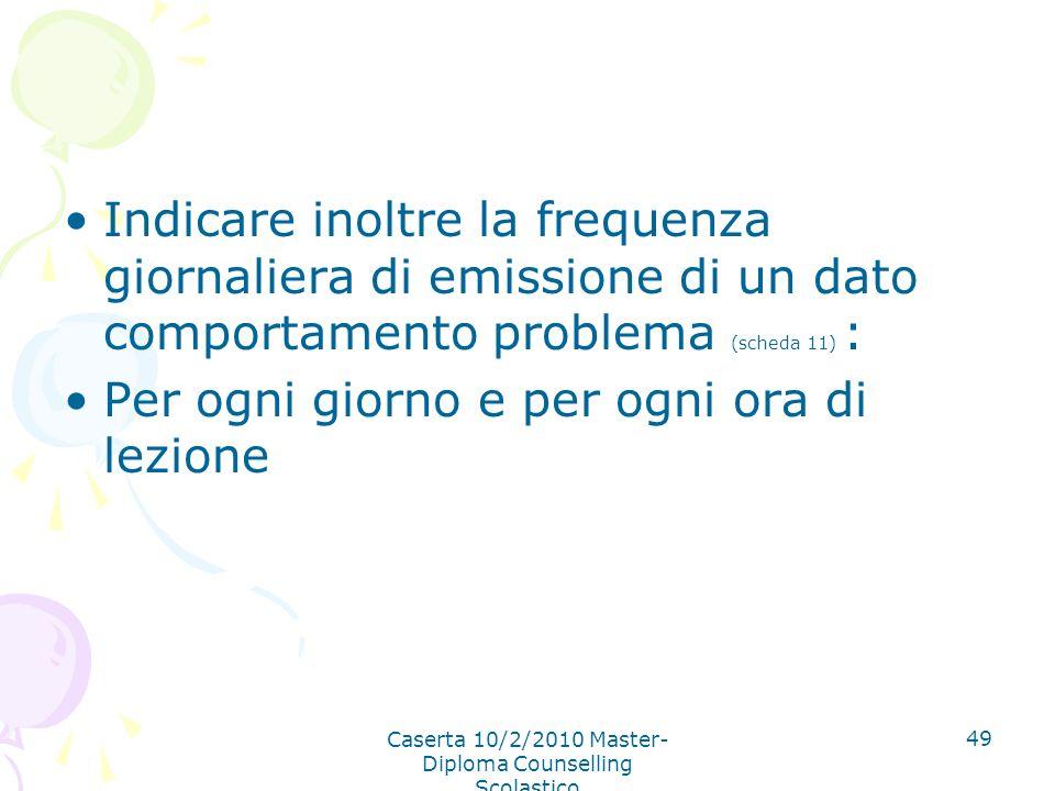 Caserta 10/2/2010 Master- Diploma Counselling Scolastico 49 Indicare inoltre la frequenza giornaliera di emissione di un dato comportamento problema (