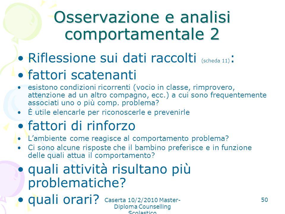 Caserta 10/2/2010 Master- Diploma Counselling Scolastico 50 Osservazione e analisi comportamentale 2 Riflessione sui dati raccolti (scheda 11) : fatto