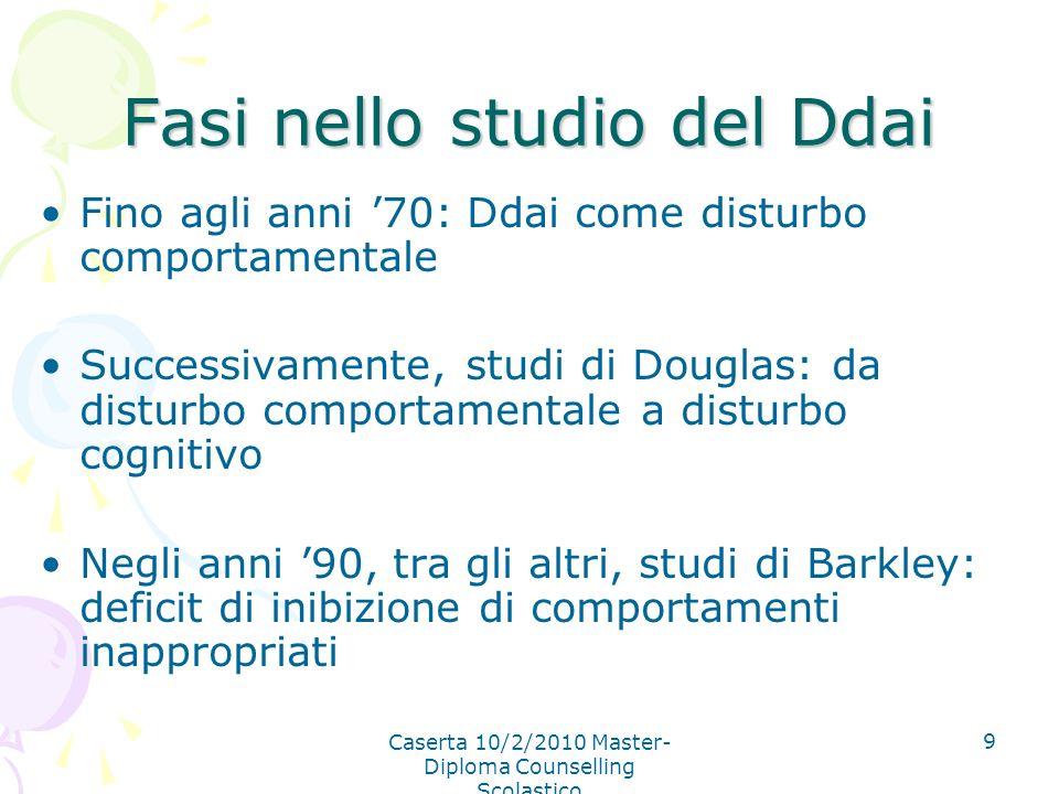 Caserta 10/2/2010 Master- Diploma Counselling Scolastico 9 Fasi nello studio del Ddai Fino agli anni 70: Ddai come disturbo comportamentale Successiva
