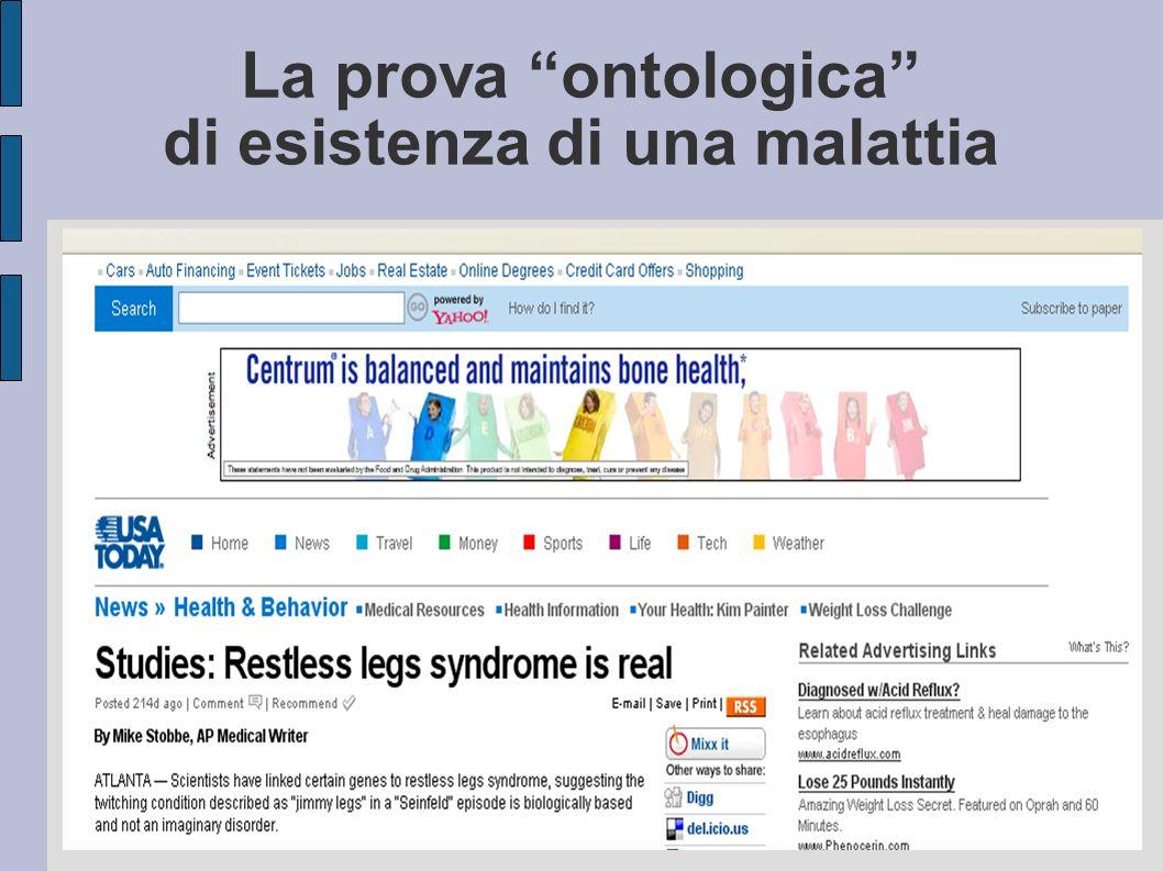 La prova ontologica di esistenza di una malattia