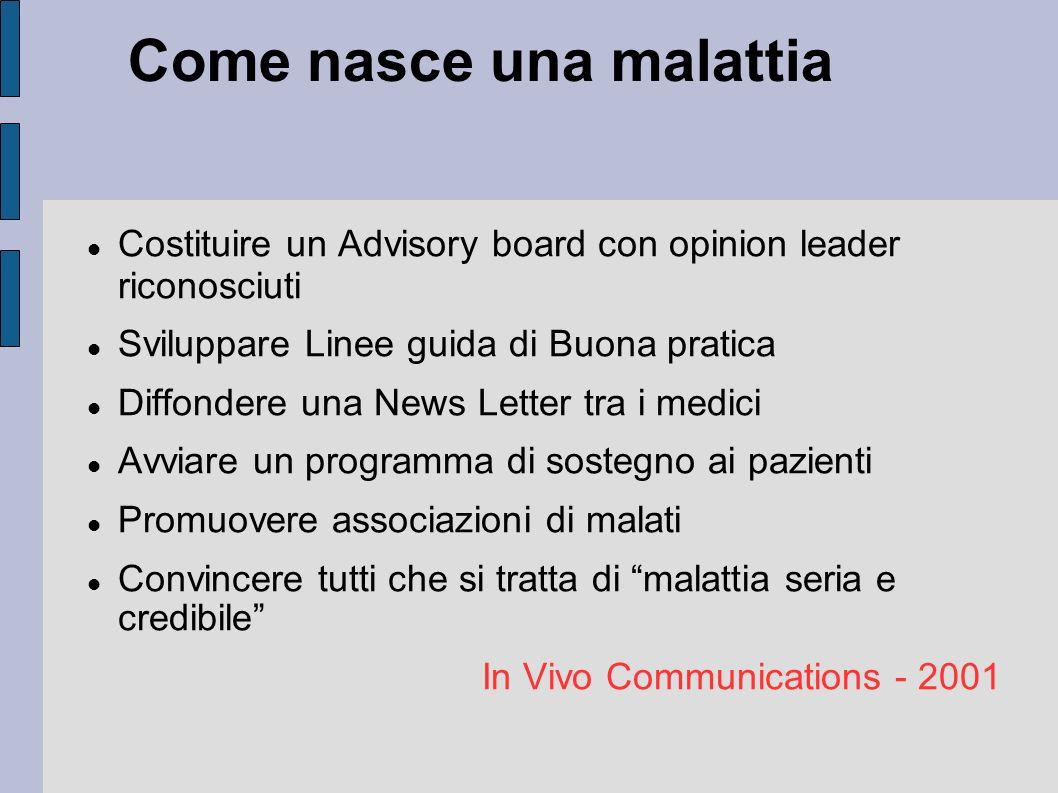 Come nasce una malattia Costituire un Advisory board con opinion leader riconosciuti Sviluppare Linee guida di Buona pratica Diffondere una News Lette