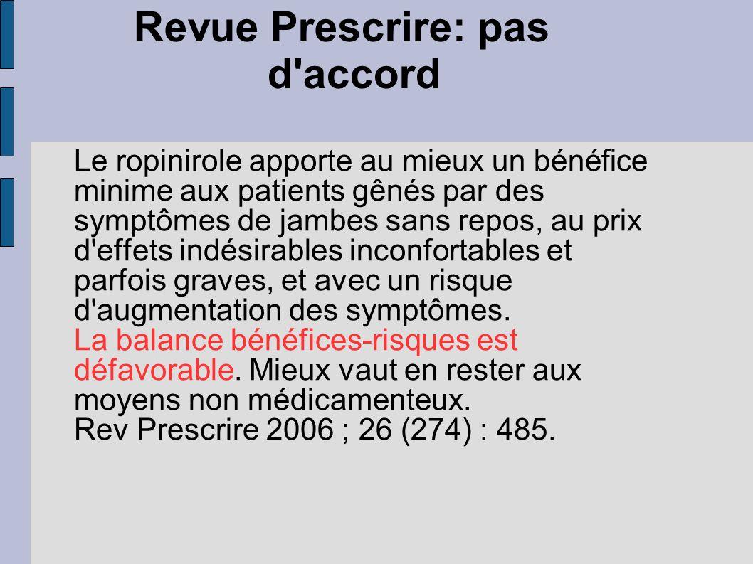 Revue Prescrire: pas d'accord Le ropinirole apporte au mieux un bénéfice minime aux patients gênés par des symptômes de jambes sans repos, au prix d'e