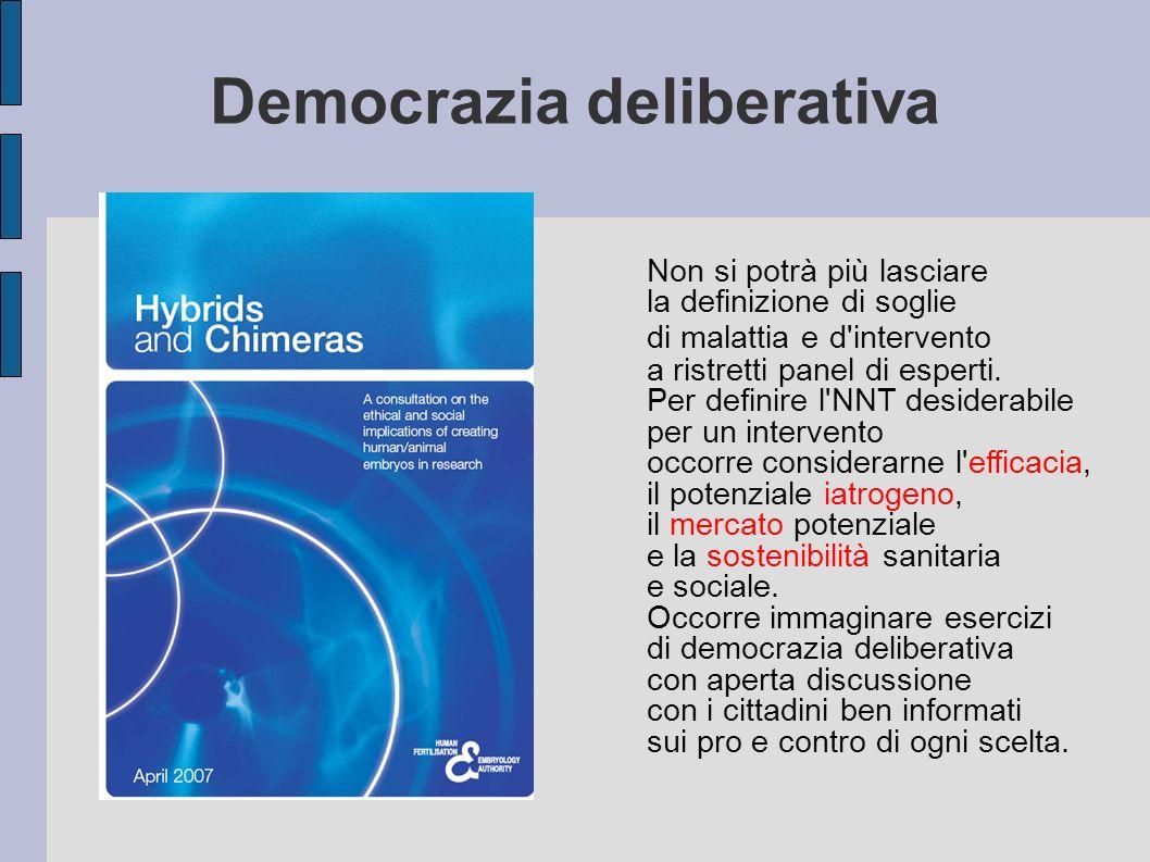 Democrazia deliberativa Non si potrà più lasciare la definizione di soglie di malattia e d'intervento a ristretti panel di esperti. Per definire l'NNT