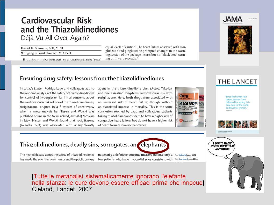 [Tutte le metanalisi sistematicamente ignorano l'elefante nella stanza: le cure devono essere efficaci prima che innocue] Cleland, Lancet, 2007