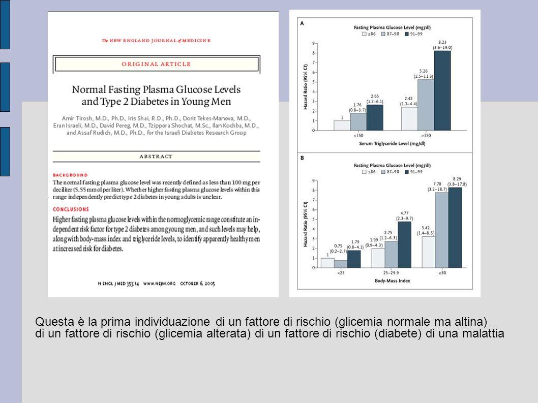 Questa è la prima individuazione di un fattore di rischio (glicemia normale ma altina) di un fattore di rischio (glicemia alterata) di un fattore di r