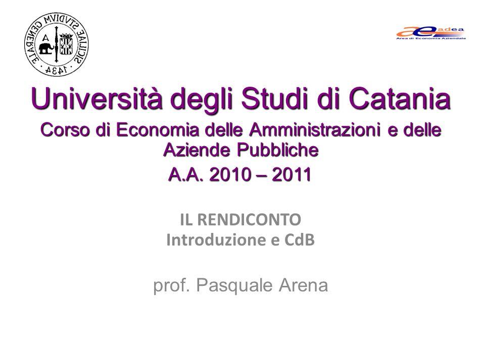 Università degli Studi di Catania Corso di Economia delle Amministrazioni e delle Aziende Pubbliche A.A. 2010 – 2011 IL RENDICONTO Introduzione e CdB