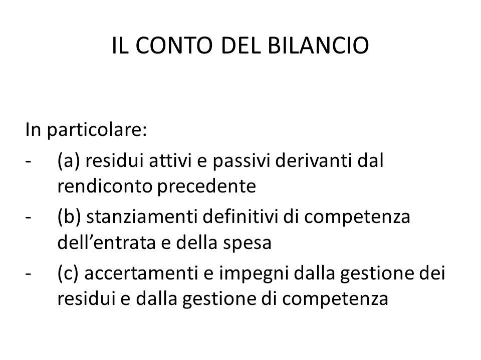 IL CONTO DEL BILANCIO In particolare: -(a) residui attivi e passivi derivanti dal rendiconto precedente -(b) stanziamenti definitivi di competenza del