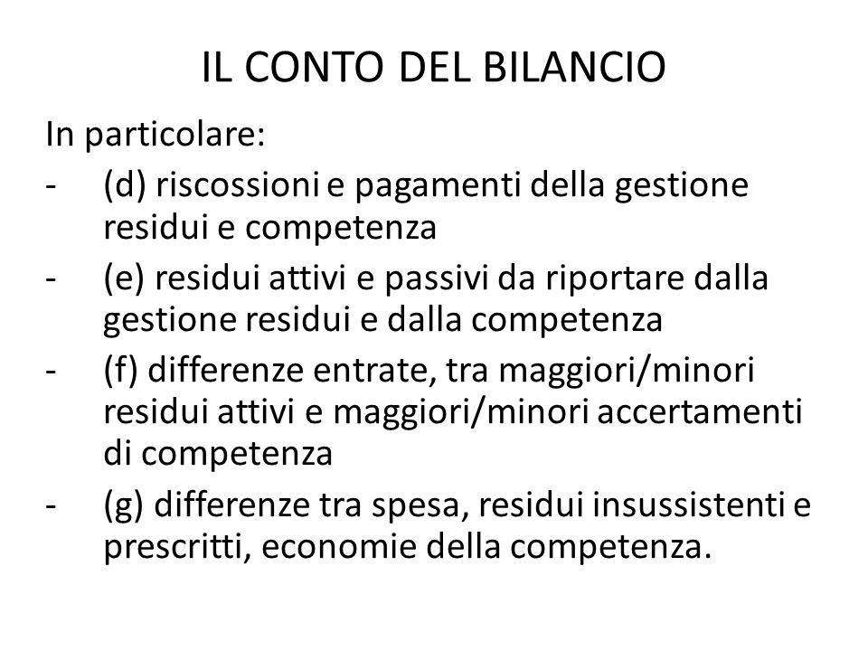IL CONTO DEL BILANCIO In particolare: -(d) riscossioni e pagamenti della gestione residui e competenza -(e) residui attivi e passivi da riportare dall