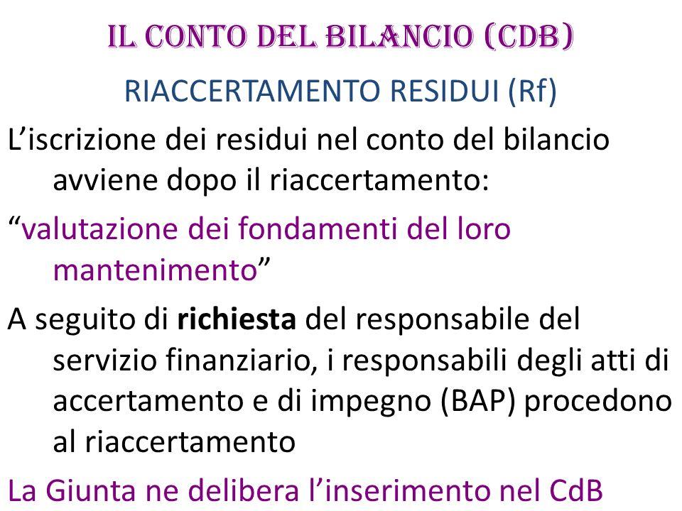 IL CONTO DEL BILANCIO (CdB) RIACCERTAMENTO RESIDUI (Rf) Liscrizione dei residui nel conto del bilancio avviene dopo il riaccertamento: valutazione dei
