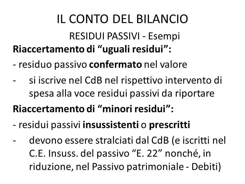 IL CONTO DEL BILANCIO RESIDUI PASSIVI - Esempi Riaccertamento di uguali residui: - residuo passivo confermato nel valore -si iscrive nel CdB nel rispe