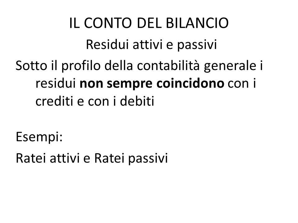 IL CONTO DEL BILANCIO Residui attivi e passivi Sotto il profilo della contabilità generale i residui non sempre coincidono con i crediti e con i debit